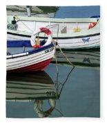 Small Skiffs - Lyme Regis Harbour Fleece Blanket