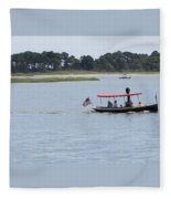 Small Stream Boat Fleece Blanket