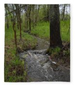 Small Stream In The Woods Fleece Blanket
