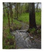 Small Stream In The Woods Fleece Blanket