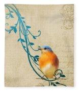 Small Vintage Bluebird With Leaves Fleece Blanket