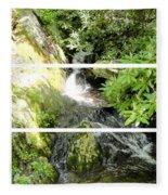 Small Waterfall Smoky Mountains Triptych Fleece Blanket