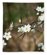Small White Flowers Of Thorns Fleece Blanket