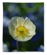 Small White Poppy Fleece Blanket