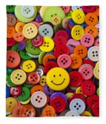 Smiley Face Button Fleece Blanket