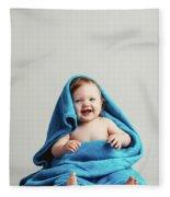 Smiling Baby Tucked In A Warm Blanket Fleece Blanket
