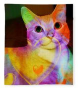Smiling Kitty Fleece Blanket