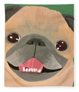 Smiling Senior Pug Fleece Blanket