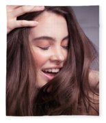 Smiling Young Woman With Long Brown Hair Fleece Blanket
