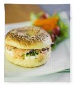 Smoked Salmon And Cream Cheese Bagel Fleece Blanket