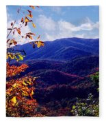 Smoky Mountain Autumn View Fleece Blanket