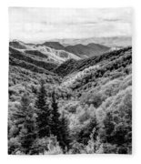Smoky Mountains In Black And White Fleece Blanket