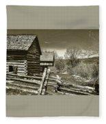 Smoky Mt Homestead - B W Fleece Blanket
