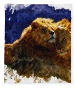 Smooching Lions Fleece Blanket