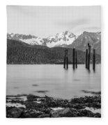 Smooth Seward Alaska Grayscale Fleece Blanket