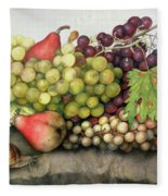 Snail With Grapes And Pears Fleece Blanket