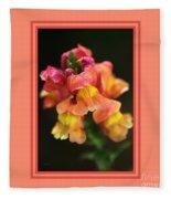 Snapdragon Flowers With Design Fleece Blanket