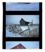 Snow And Barn Trio Fleece Blanket