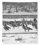 Snow And Geese On The River II Fleece Blanket