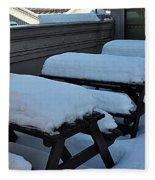 Snow Benches Fleece Blanket