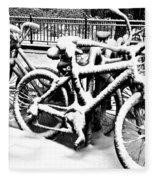 Snow Bicycles Fleece Blanket
