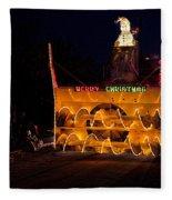Snow Blower As Float In Shipshewana Light Parade Fleece Blanket