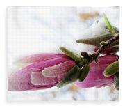Snow Capped Magnolia Blossoms Fleece Blanket