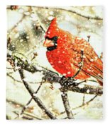 Snow Cardinal Fleece Blanket