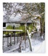Snow Covered Barn Fleece Blanket