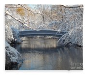 Snow Covered Bridge Fleece Blanket