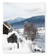 Snow Covered Cabin Fleece Blanket