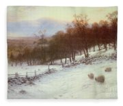 Snow Covered Fields With Sheep Fleece Blanket