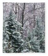 Snow-covered Forest, Wisconsin, Usa Fleece Blanket