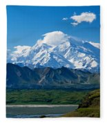 Snow-covered Mount Mckinley, Blue Sky Fleece Blanket