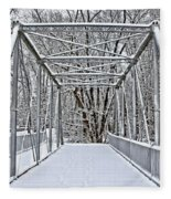 Snow Covered Pony Bridge Fleece Blanket