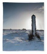 Snow Covered Post II Fleece Blanket