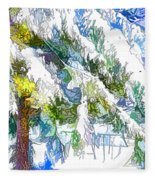 Snow-covered Tree Branch  3 Fleece Blanket