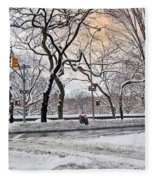 Snow Day On 5th Avenue Fleece Blanket