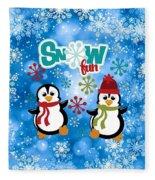 Snow Fun Penguins Fleece Blanket