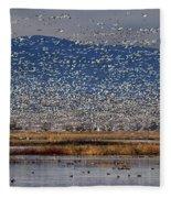 Snow Geese Landing Fleece Blanket