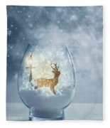 Snow Globe For Christmas With Reindeer Fleece Blanket