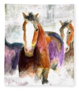 Snow Horses Fleece Blanket