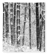 Snow In A Forest Fleece Blanket