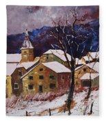 Snow In Chassepierre  Fleece Blanket