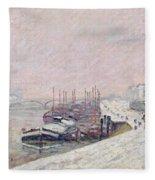 Snow In Rouen Fleece Blanket