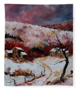 Snow In The Ardennes 78 Fleece Blanket