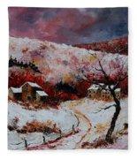 Snow In The Ardennes 78 Fleece Blanket