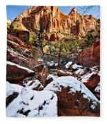 Snow In The Canyons Fleece Blanket