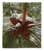 Snow In The Pine Fleece Blanket