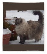 Snow Kitty Fleece Blanket